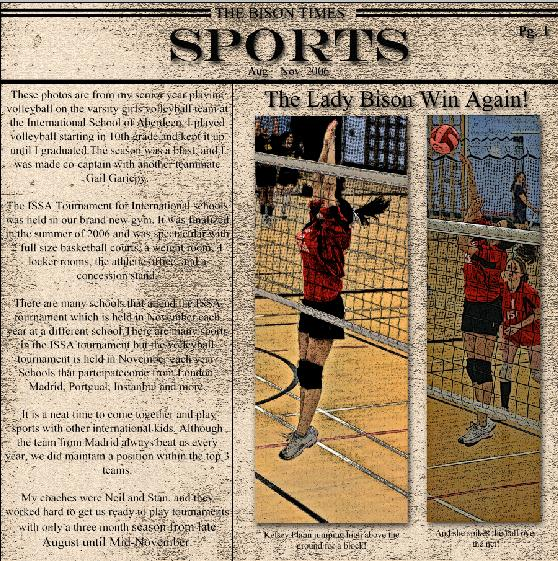 Volleyball Newspaper Highlights Pg 1 - All About You - Gallery ...