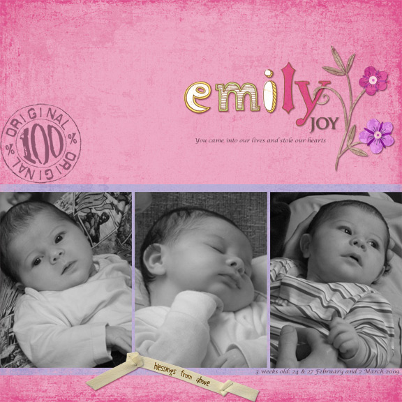 Emily Joy at 3 weeks