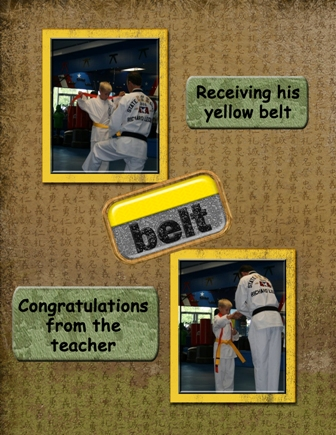 Receiving his yellow belt