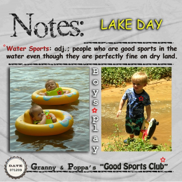 "Lake Day for Granny and Poppa's ""Good Sports Club"""