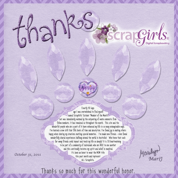 "MONDAY Challenge:  ""THANKS!"" ScrapGirls!!!  :)"
