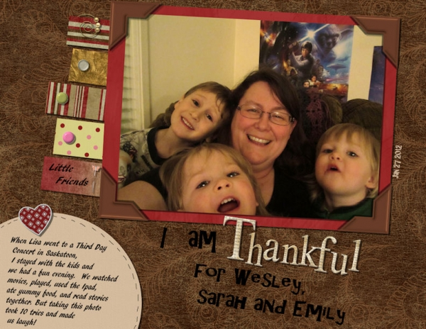 Thankful for Wesley, Sarah and Emily
