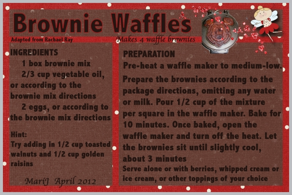 Apri/Breakfastl:  Brownie Waffles!