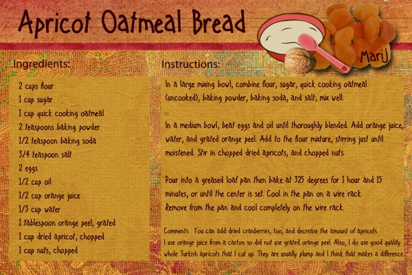 October Quick Bread Recipe Swap:  Apricot Oatmeal Bread
