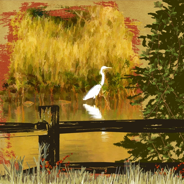 Photo Manipulation - Heron on the Thomson River