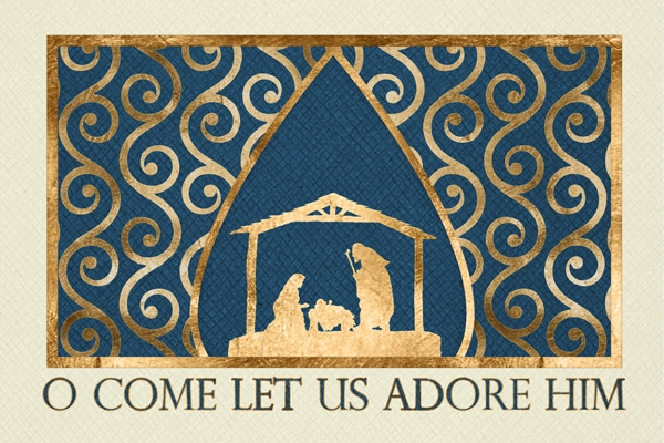 Golden Nativity Adore Him Card