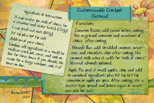 Crockpot Oatmeal (Customizable)
