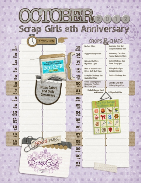 October 2012 - Scrap Girls 8th Anniversary