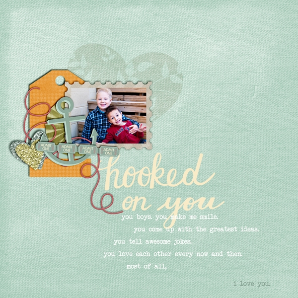 Hooked on You - Safe Harbor Solid Papers Mini Layout