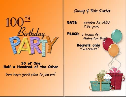 100th Birthday Party -- 50 of One, Half a Hundred of the Other