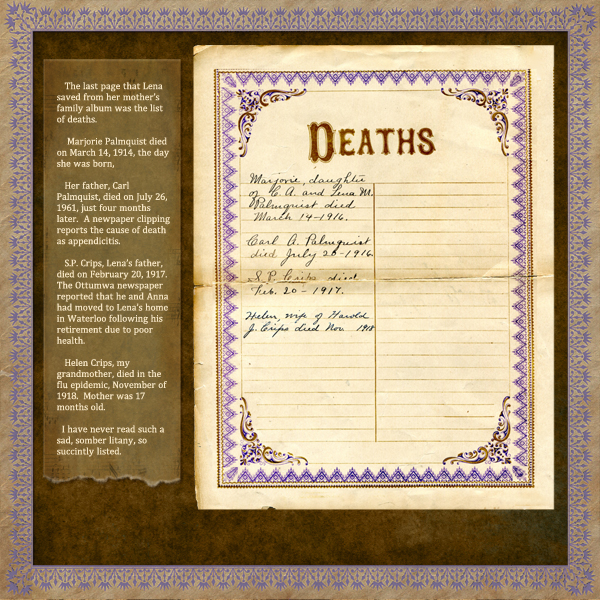 Crips Family records - deaths