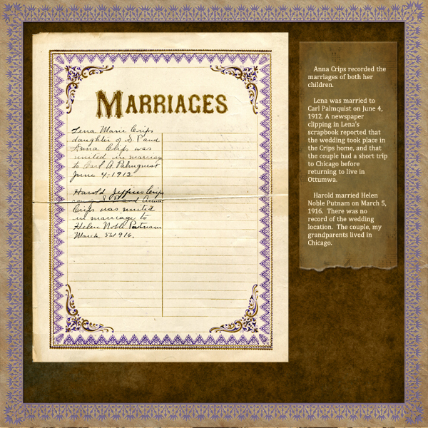 Crips Family records - marriages