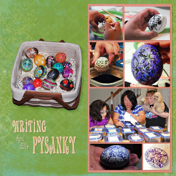 Writing Pysanky, April 2014, left