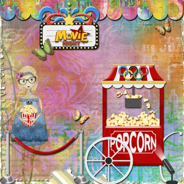 Movie Night scrapbook layout
