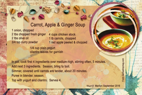 "Sept 2016 Recipe Swap: Autumn - ""Carrot, Apple & Ginger Soup"""