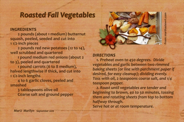 Sept 2016 Recipe Swap: Autumn - Roasted Fall Vegetables
