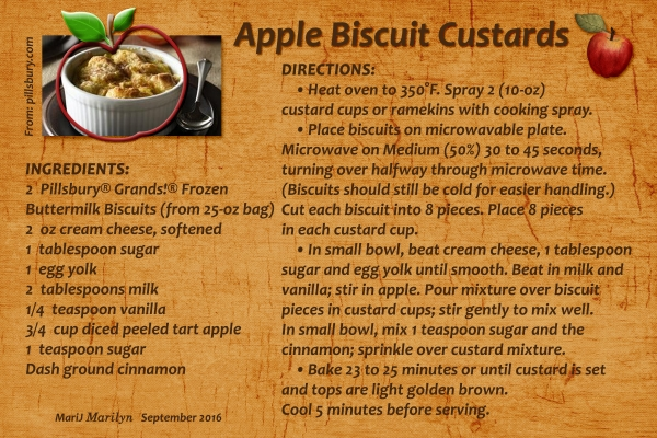 "Sept 2016 SG Recipe Swap: Autumn - ""Apple Biscuit Custards"""