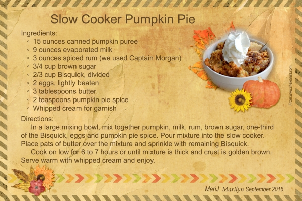 "SG Recipe Swap 9/16: Autumn -- ""Slow Cooker Pumpkin Pie"""