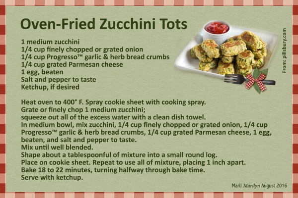 Aug 2016 SG Recipe Swap: Snacks - Oven Fried Zucchini Tots