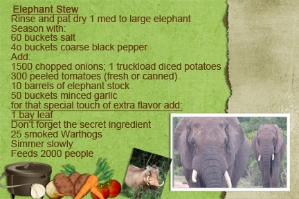 Recipe Swap-Elephant Stew - Staycation 2013 - Road Trip