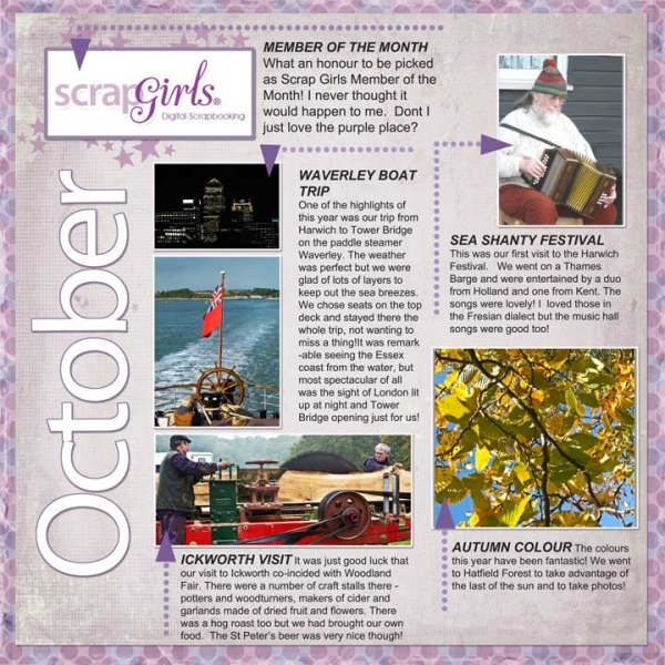 Project S G Challenge October Diary