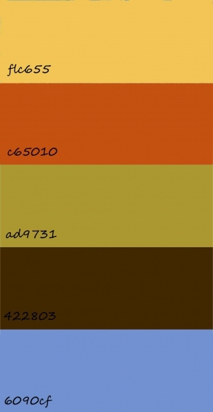 colour palette with hex numbers