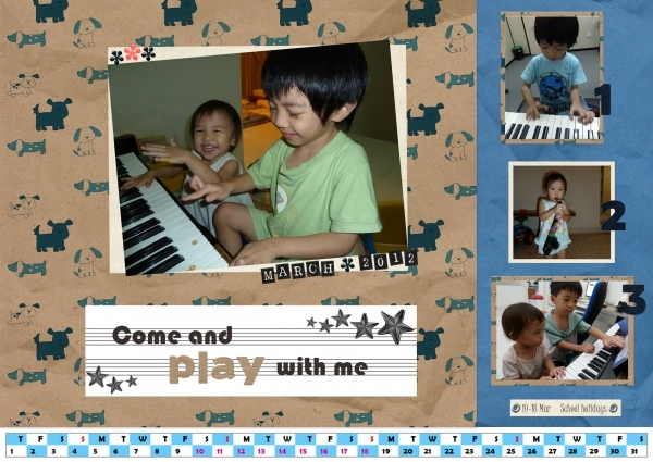 Come and Play with Me! March 2012 Calendar Page