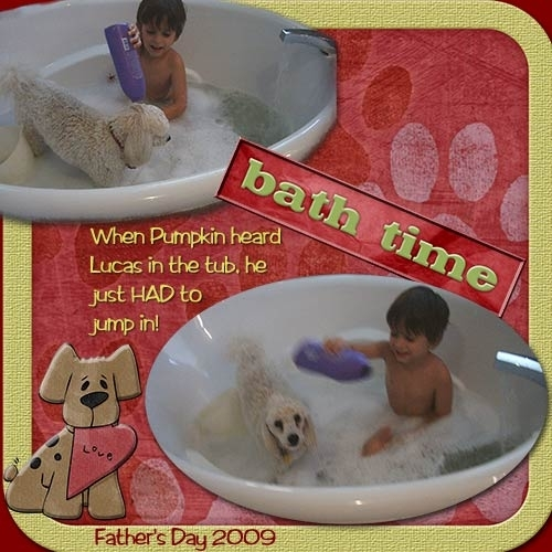When Pumpkin saw Lucas in the bath, he jumped right in!