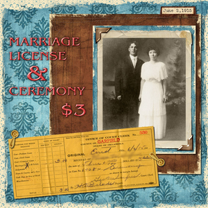 1915 Marriage License receipt