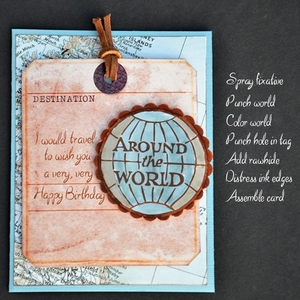 Printable Around the World Birthday Card - Masculine