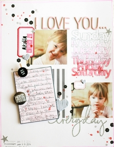 I Love You Hybrid Scrapbook Layout