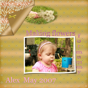 alex making flowers for mummy may 2007