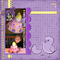 Baby chickie birthday cake -- High Noon Purple challenge