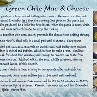 Green Chile Mac & Cheese, bottom card of two.
