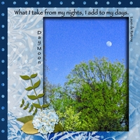 "4/21 Blue/green Color & Thursday Sky Challenges -- ""Day Moon"""