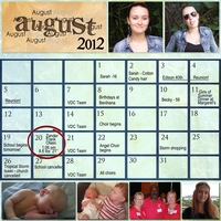 Project SG Challenge 2012, August calendar