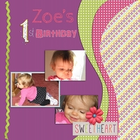 8/23 scraplift challenge: Zoe's 1st birthday
