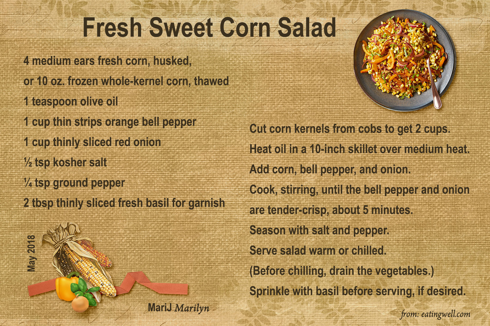 May 2018 Recipe Swap - Salad: Fresh Sweet Corn Salad