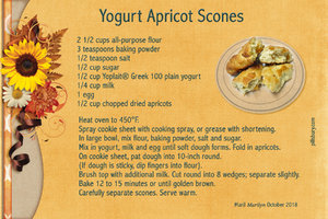 Oct 18 SG Recipe Swap Quick Breads - Yogurt Apricot Scones