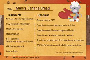 Oct 2018 SG Recipe Swap Breads:  Mimi's Banana Bread