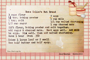 October 2018 SG Recipe Swap: Breads - Mom's Rose Kalin Nut Bread