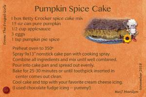 Nov 2818 SG Recipe Swap- Holiday: Pumpkin Spice Cake JP