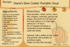 Jan 2019 Recipe Swap; Slow Cooker Pumpkin Soup