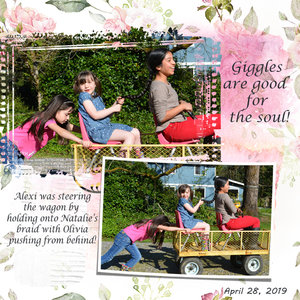 Girls Taking A Wagon Ride