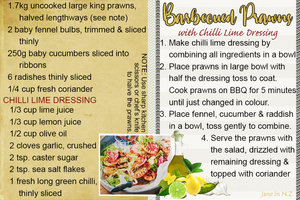 July recipe swap_Barbecued Prawns with chilli lime dressing