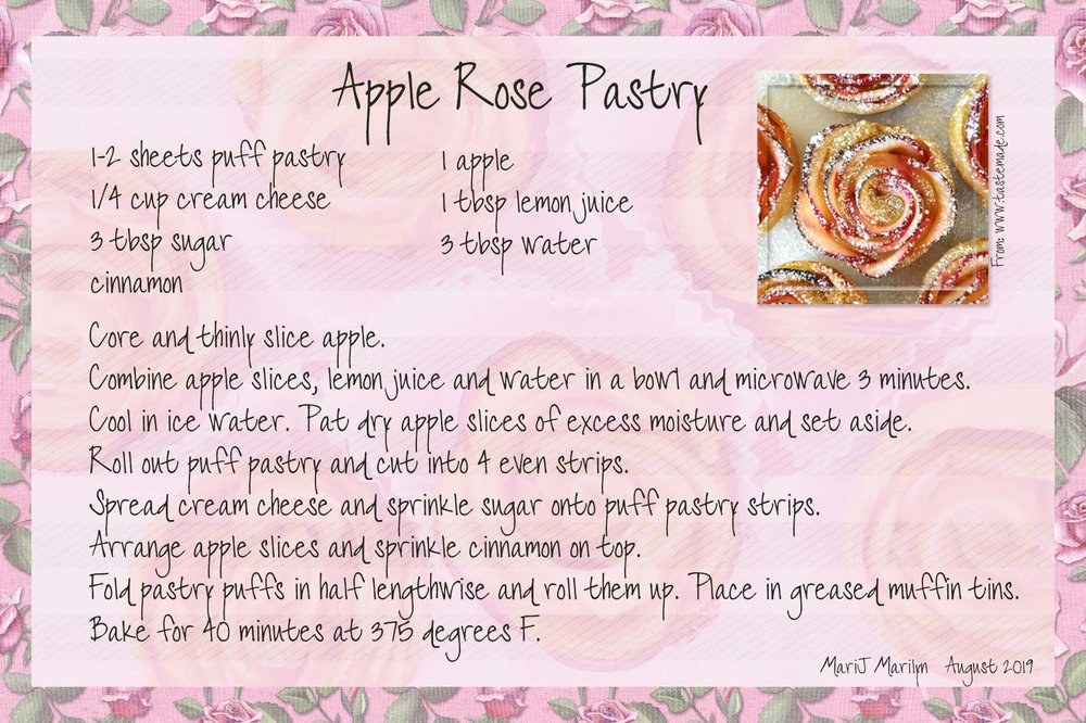 Aug 2019 Recipe Swap Party Apple Rose Pastry