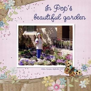 Helen in her late Pop's lovely garden