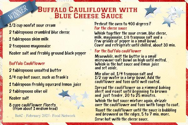 Buffalo Cauliflower with Blue Cheese Sauce