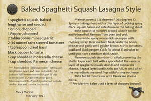 Feb 2021 SG Recipe Swap: Healthy - Baked Spaghetti Squash Lasagna Style