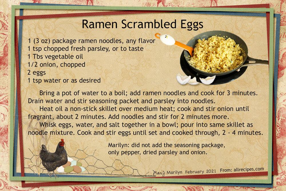 April 2021 SG Recipe Swap: Breakfast - Ramen Scrambled Eggs